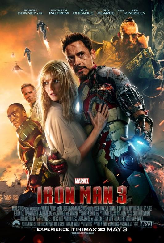 Iron Man 3 movie starring Robert Downey, Jr and Gwyneth Paltrow
